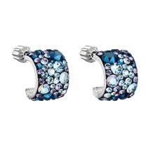 Stříbrné náušnice půlkruh s kameny Crystals from Swarovski® BLUE STYLE