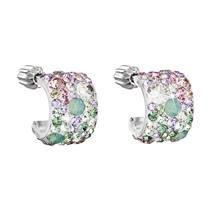 Stříbrné náušnice půlkruh s kameny Crystals from Swarovski® SAKURA