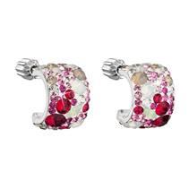 Stříbrné náušnice půlkruh s kameny Crystals from Swarovski® SWEET LOVE