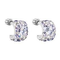 Stříbrné náušnice půlkruh s kameny Crystals from Swarovski® VIOLET