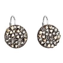 Stříbrné náušnice ROCKS Crystals from Swarovski® Golden Chocolate