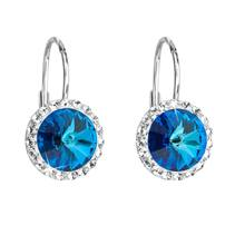 Stříbrné náušnice s kameny Crystals from Swarovski® Bermuda Blue
