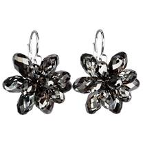 Stříbrné náušnice s kameny Crystals from Swarovski® SILVER NIGHT
