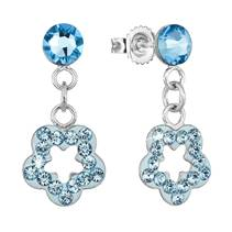 Stříbrné náušnice s krystaly Crystals from Swarovski® AQAMARINE
