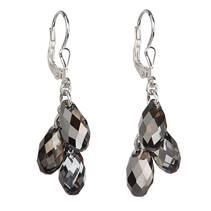 Stříbrné náušnice s krystaly Crystals from Swarovski® Silver Night