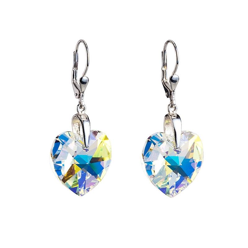168137e0d Stříbrné náušnice s krystaly Swarovski ab efekt srdce | Šperky4U.eu