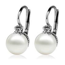 Stříbrné náušnice s perličkami Crystals from SWAROVSKI®