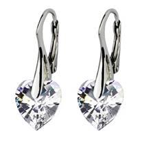 Stříbrné náušnice srdíčka s krystaly Crystals from Swarovski®, Crystal