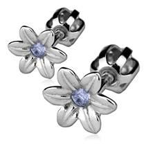 Stříbrné náušnice šroubovací - kytičky světle modré kamínky