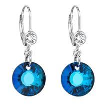 Stříbrné náušnice visací s kamínky Crystals from Swarovski® Bermuda Blue