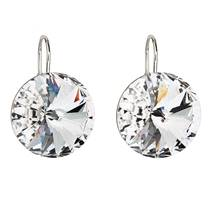 Stříbrné náušnice visací s krystaly bílé kulaté 731153.1