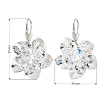 Stříbrné náušnice visací s krystaly Swarovski bílá kytička
