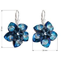Stříbrné náušnice visací s krystaly Swarovski modrá kytička