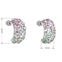 Stříbrné šroubovací náušnice s krystaly Crystals from Swarovski®, Sakura