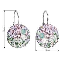 Stříbrné závěsné náušnice s krystaly Crystals from Swarovski®, Sakura