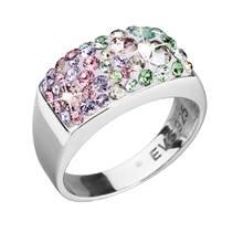 Stříbrný hranatý prsten Crystals from Swarovski®, Sakura