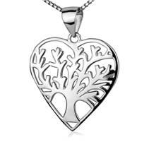 Stříbrný náhrdelník - srdíčko strom života