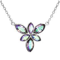 Stříbrný náhrdelník kytička s Crystals from Swarovski® Vitrail Light