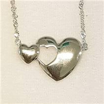 Stříbrný náhrdelník se dvojitými srdíčky