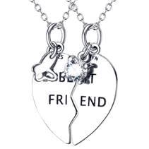 Stříbrný náhrdelník srdce půlené