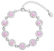 Stříbrný náramek s krystaly Crystals from Swarovski® a růžovými opály