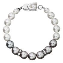 Stříbrný perlový náramek bílo-šedý