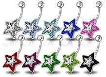 Stříbrný piercing do pupíku hvězda