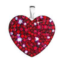 Stříbrný přívěsek s krystaly Swarovski červené srdce  cherry