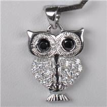 Stříbrný přívěšek sova s černýma očima