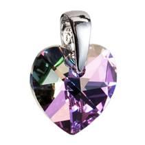 Stříbrný přívěšek srdce Crystals from Swarovski® Vitrail light