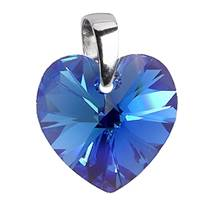 Stříbrný přívěšek srdce z dílny Crystals from Swarovski®, Blue