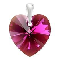 Stříbrný přívěšek srdce z dílny Crystals from Swarovski®, Fuchsia