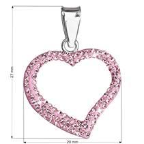Stříbrný přívěšek srdíčko s krystaly Crystals from Swarovski®, Light Pink