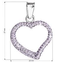 Stříbrný přívěšek srdíčko s krystaly Crystals from Swarovski®, Violet