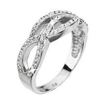 Stříbrný proplétaný prsten s kamínky Crystals from Swarovski®, Crystal