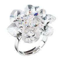 Stříbrný prsten kytička s krystaly Crystals From Swarovski, Crystal