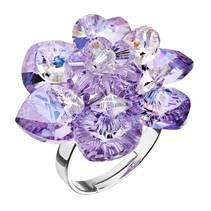 Stříbrný prsten kytička s krystaly Crystals From Swarovski, Violet