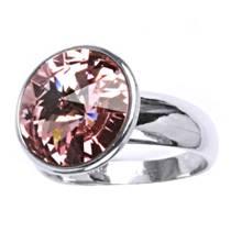 Stříbrný prsten s kamenem Crystals from SWAROVSKI®, barva: ROSE