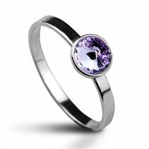 Stříbrný prsten s kamenem Crystals from Swarovski®, barva: VIOLET