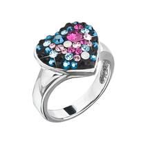 Stříbrný prsten srdce s kamínky Crystals from Swarovski® Galaxy
