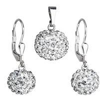 Stříbrný set náušnic a přívěšku s krystaly Crystals from Swarovski® CRYSTAL