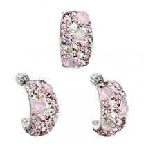 Stříbrný set náušnic a přívěšku s krystaly Crystals from Swarovski®, Magic Rose