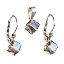 Stříbrný set náušnic kostky Crystals from Swarovski® Gold shadow