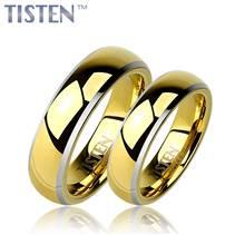 TIS0007 Tistenové snubní prsteny zlacené - pár