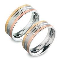 Titanové snubní prsteny s diamanty - pár