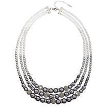 Trojitý perlový náhrdelník Crystals from Swarovski® šedý