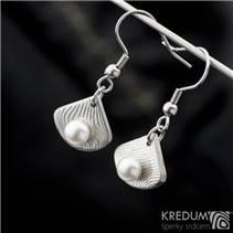 Závěsné damasteel naušnice s perlami - Raníčky