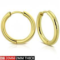 Zlacené ocelové náušnice - kruhy 20 mm