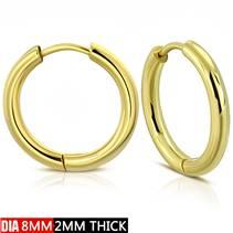 Zlacené ocelové náušnice - kruhy 8 mm