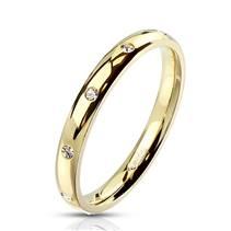 Zlacený celový prsten se zirkony